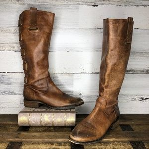 Arturo Chiang distressed buckle leather boots